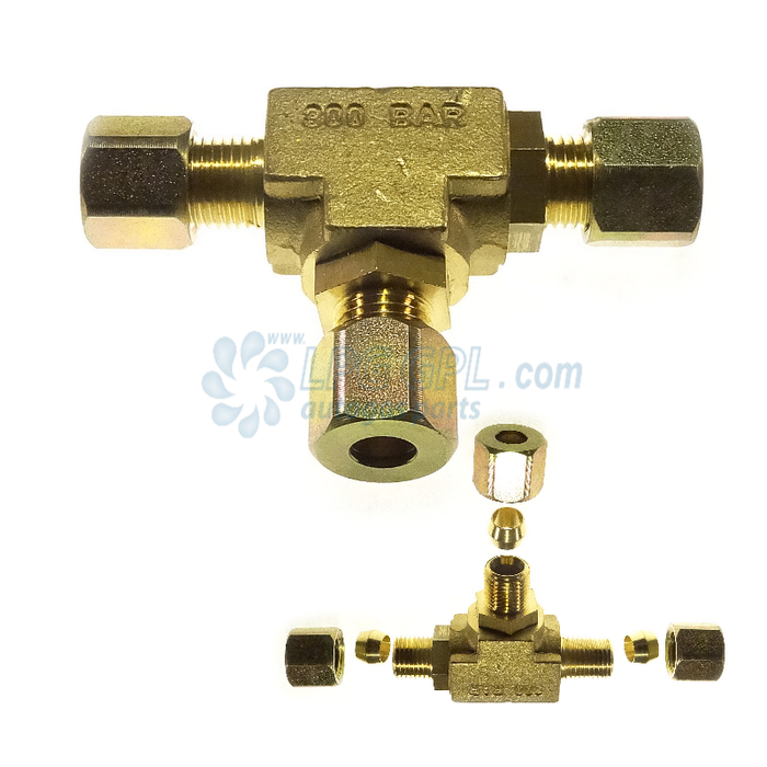 8 x 8 x 8mm Compression T With One Way Valve
