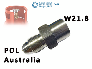 Australian POL, Gas adapter, for Propane cylinders, left hand thread, Calor gas, gas bottles, refill, filler
