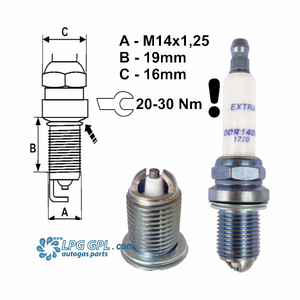 Brisk Racing Spark Plugs DOR14DS for lpg, gpl, cng, methane, methanol, propane