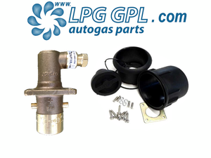 LPG filler set, 8mm, olive fitting, angled, bayonet, autogas, lpg, filling pot, filling box, dust cap