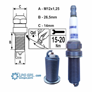 MR12YS Brisk silver spark plugs for LPG GPL CNG Methane Methanol Nitrous fuels