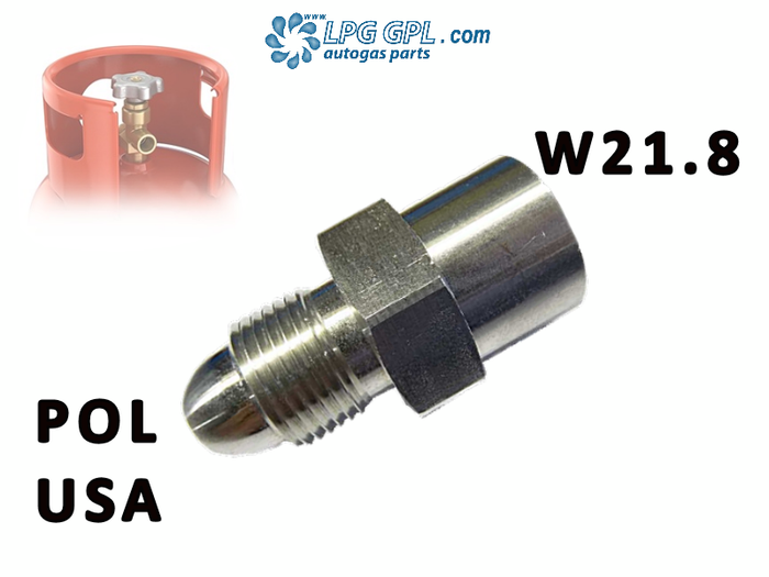 USA POL to W21.8 Adaptor Left Hand Thread For Propane LPG Gas Bottles
