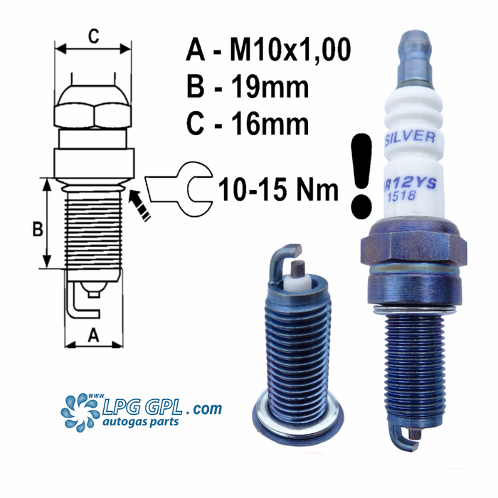 AR12YS Brisk Spark Plugs For LPG GPL CNG Methane Nitrous Alcohol Fuel