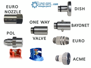 refill gas bottle, refill lpg, adapter, adaptor, set, one way valve, Pol, Euro nozzle