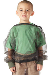 Bug Baffler insect protective child's hooded shirt with hood down