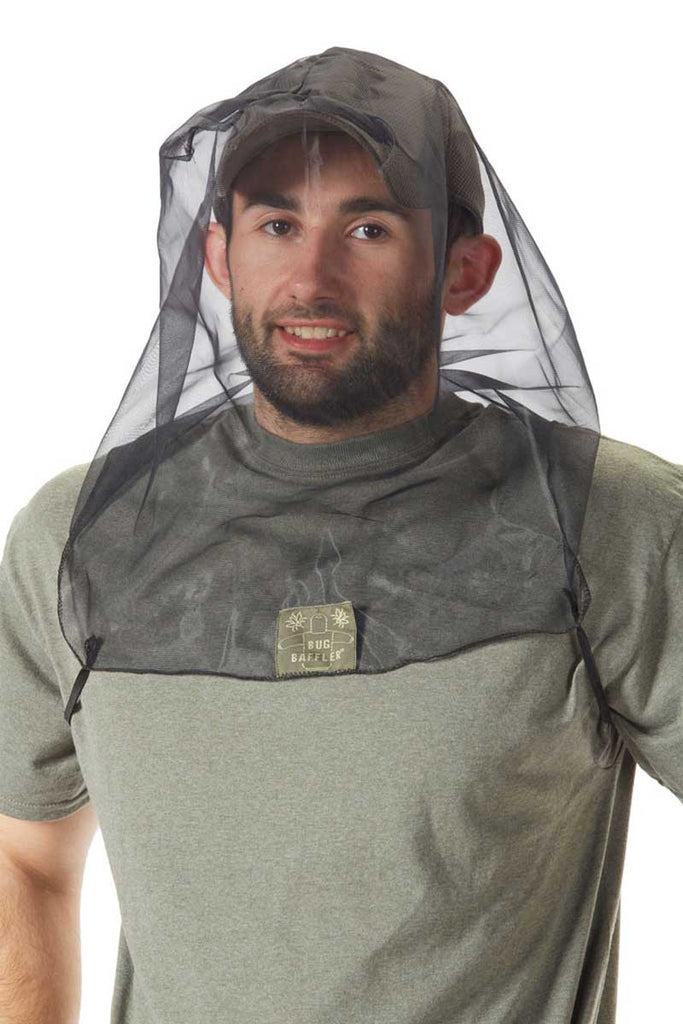Man wearing Bug Baffler insect protective headset
