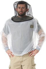 Man wearing insect protective white hooded shirt