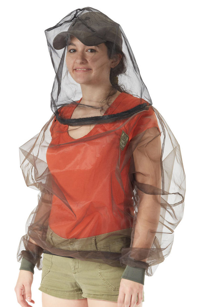 Woman wearing Bug Baffler insect protective hooded shirt