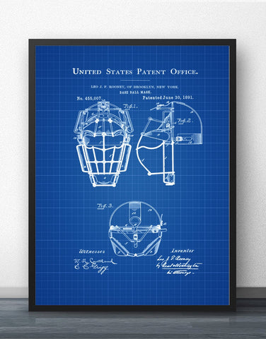 Baseball Mask Patent Blueprint Wall Art Paint Wall Decor Canvas Prints Canvas Art Poster Oil Paintings No Frame
