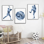 Baseball Decor Canvas Art Prints Modern Posters , Watercolor Baseball Art Painting Picture Boys Room Wall Decoration