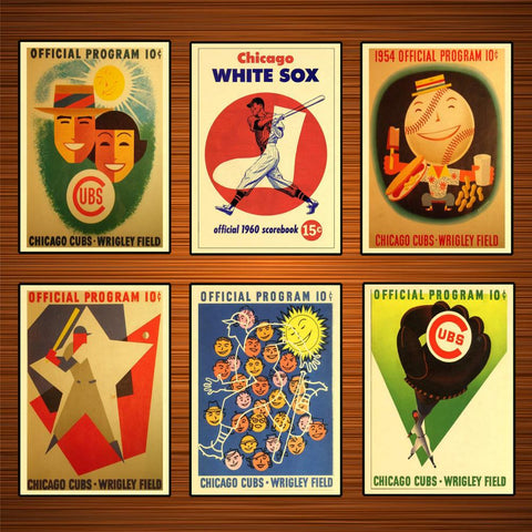Vintage 1950s Baseball Sports Ads Poster Chicago Cubs Wrigley Field Classic Canvas Paintings Wall Stickers Home Decor Gift