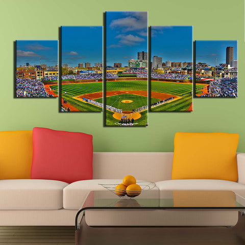 Wrigley Stadium 5 Panels Canvas Painting Wall Art Modular Picture for Living Room Home Decor