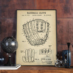 Vintage Baseball Glove Patent Design Antique