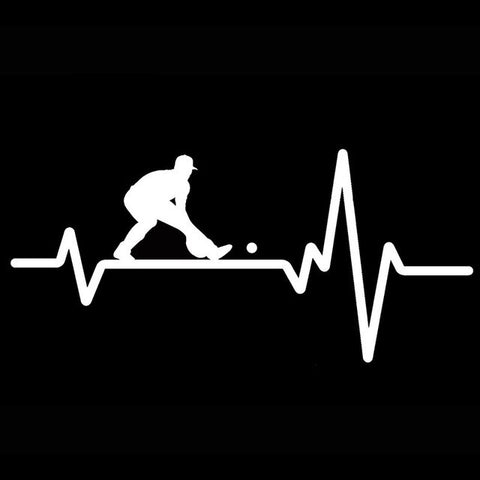 YJZT 15.7CM*7.3CM Baseball Fielder Taking Grounders Male Heartbeat Vinyl Black/Silver Car Sticker C22-1227
