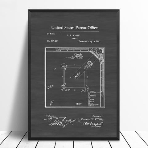 Baseball Game Patent Art Poster Canvas Prints No Frame