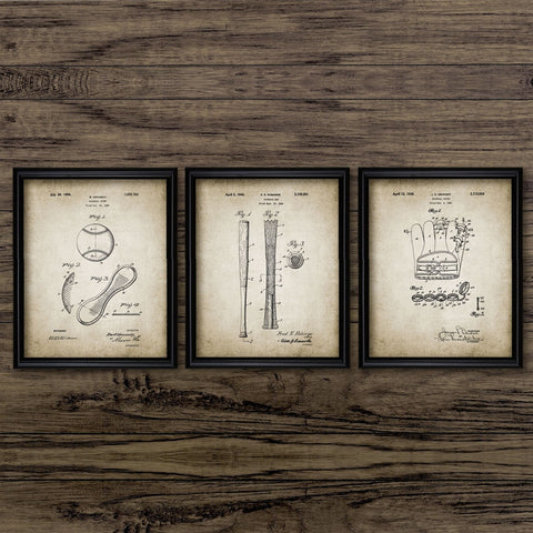 Baseball Patent Vintage Poster Baseball Glove Bat Wall Art Canvas Print Baseball Sport Design Art Painting Picture Home Decor