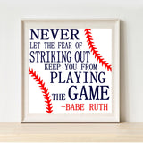 BASEBALL Babe Ruth Quote Canvas Painting Modern  Minimalist Poster and Print Wall Art Picture Boys Room Home Decor