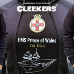 Black Pullover Hoodie with HMS Prince of Wales Crest and Sketch - Cleekers