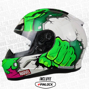 CASCO HJC CL-17 HULK MARVEL MC4 NEGRO VERDE