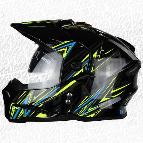 CASCO HRO MX-330DV D-RACE NEGRO AMARILLO