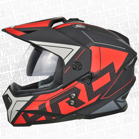 CASCO HRO MX-330DV STATIC NEGRO ROJO