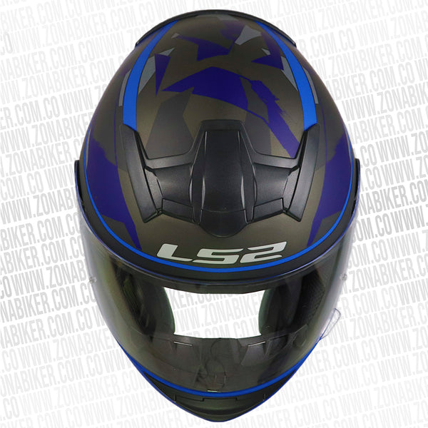 CASCO LS2 352 RECRUIT NEGRO AZUL