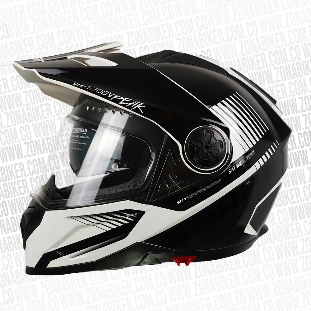CASCO SHAFT 570DV PEAK PINLOCK BARCODE NEGRO BRILLO BLANCO