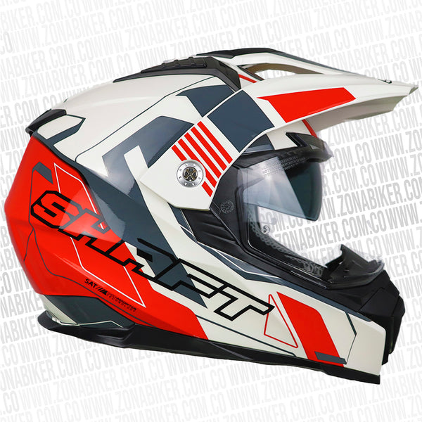 CASCO SHAFT MX-380 SPEEDWAG BLANCO ROJO