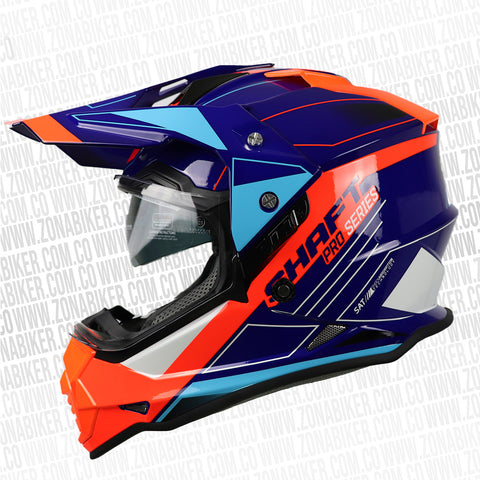 CASCO SHAFT PRO MX-370 TREPID AZUL NARANJA