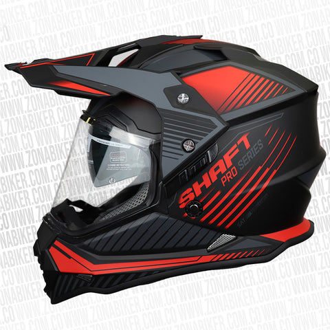 CASCO SHAFT PRO MX-370 BLEED NEGRO ROJO