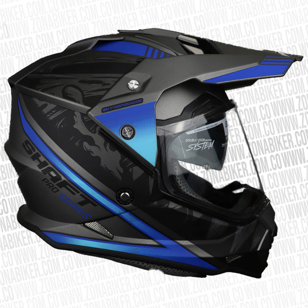 CASCO SHAFT PRO MX-370 CRIPTO GRIS  AZUL