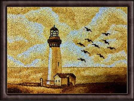 landscape painting, lighthouse painting, ocean painting