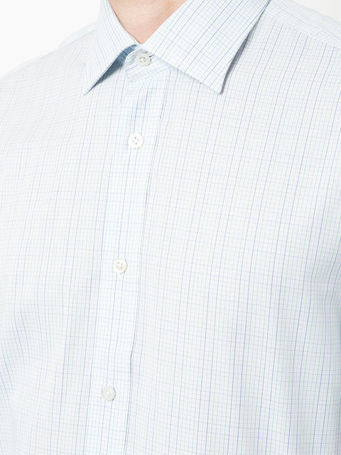 Blue And White Cotton Short Sleeve Shirt