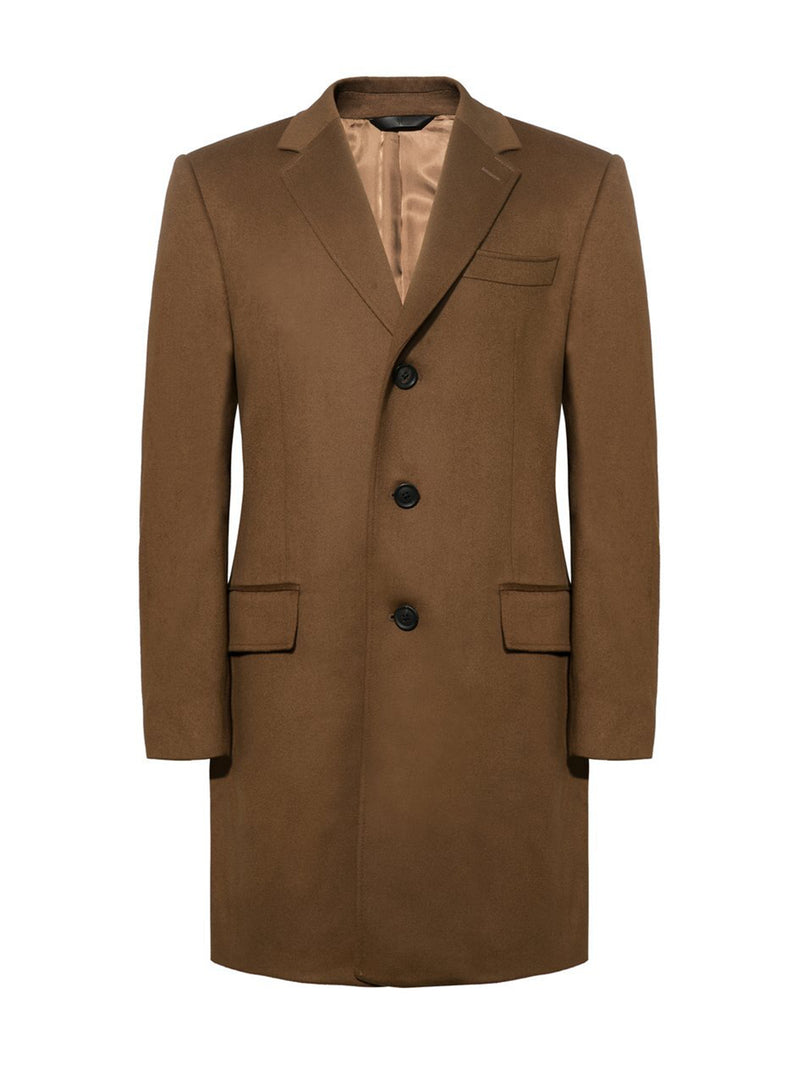 Camel Wool And Cashmere Covert Coat