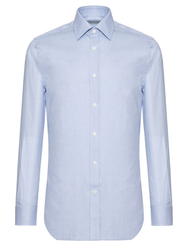 Ice Blue Cotton Tailored Fit Shirt