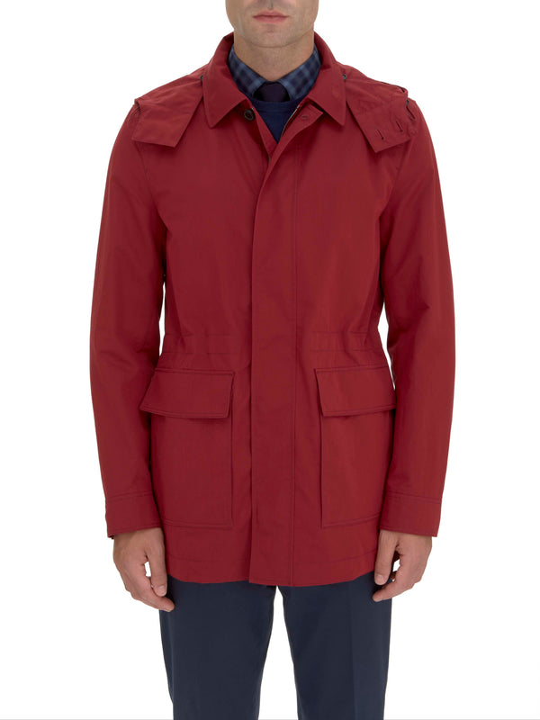 Ruby red technical cotton and silk parka