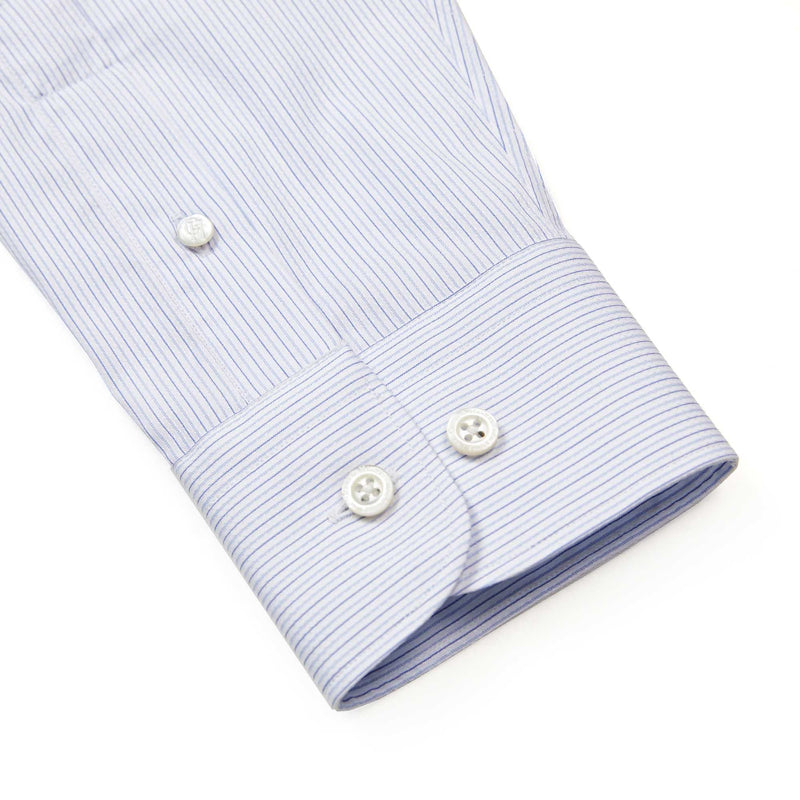 Sky Blue And White Pencil Stripe Tailored Fit Shirt