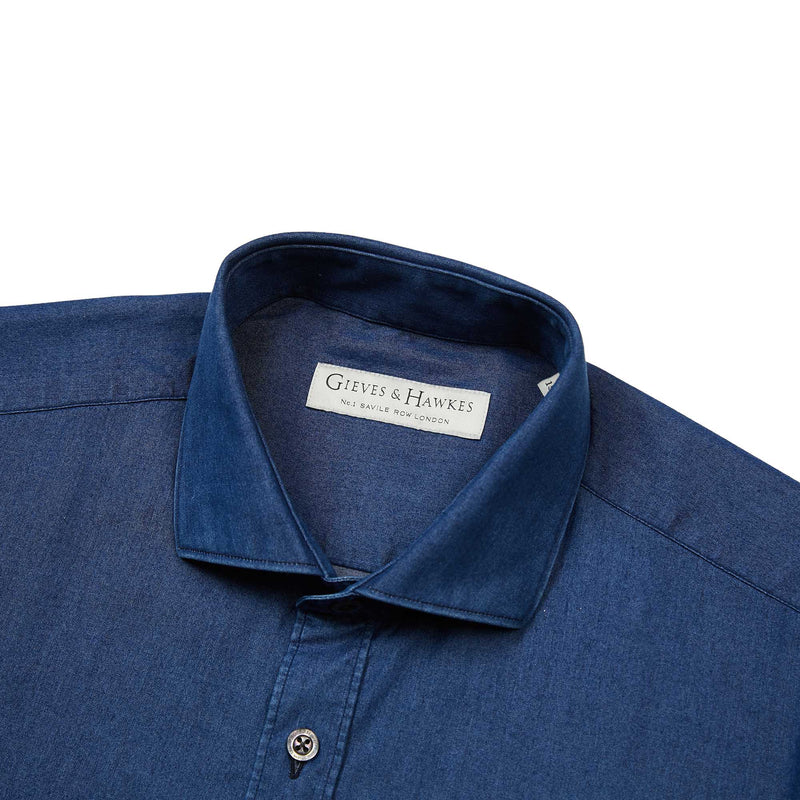 Navy Denim Tailored Fit Shirt