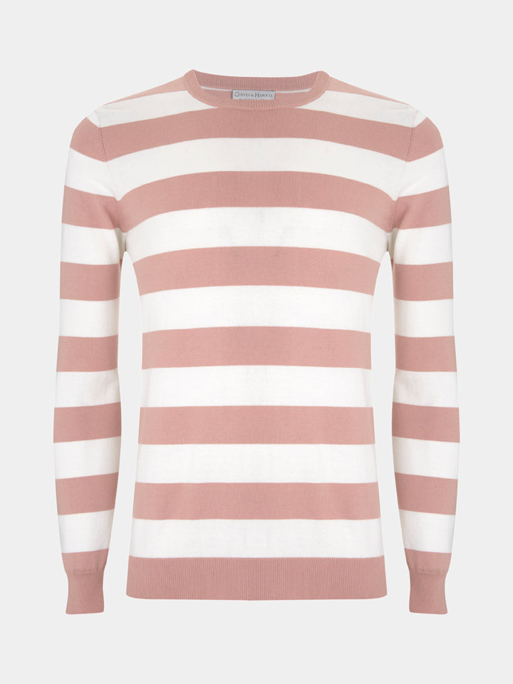 Pink and White Wide Striped Cotton Crewneck