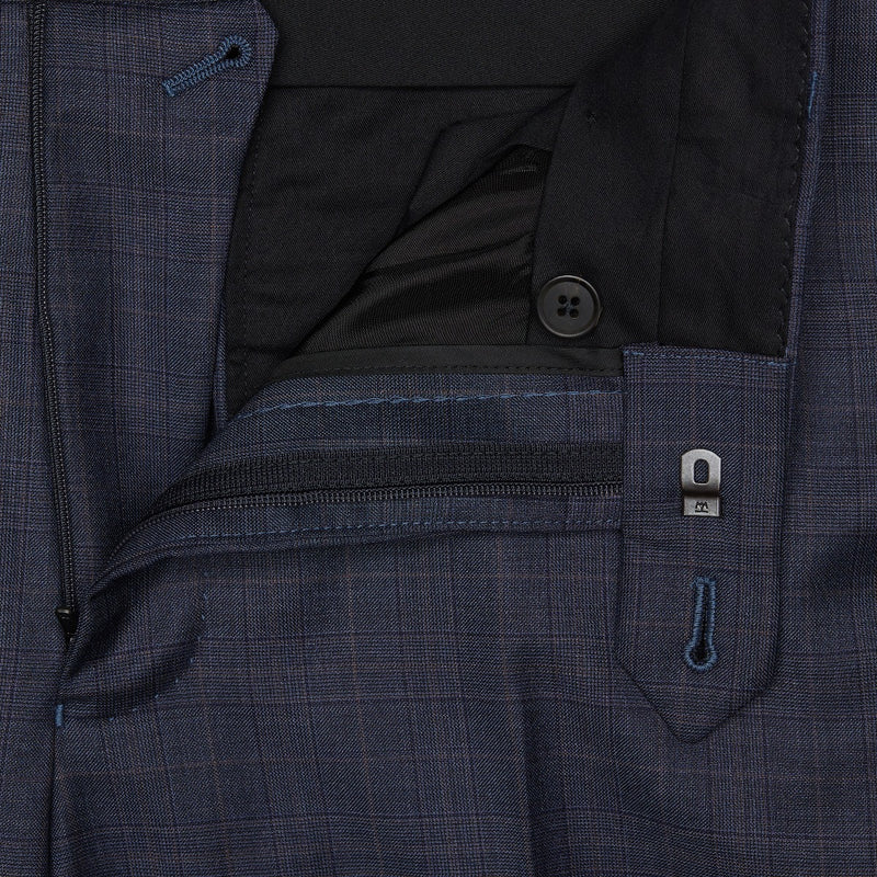 Raf Blue Shadow Check Wool Suit