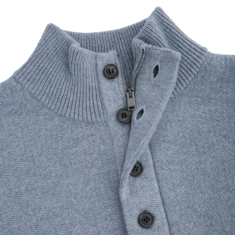 Light Blue Button High Neck Sweater