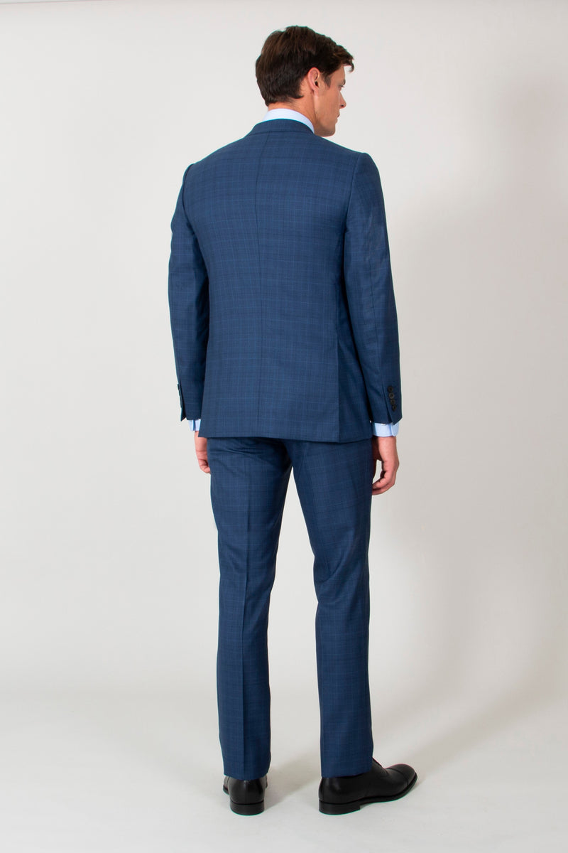 Royal Blue Superfine Prince Of Wales Check Wool Suit
