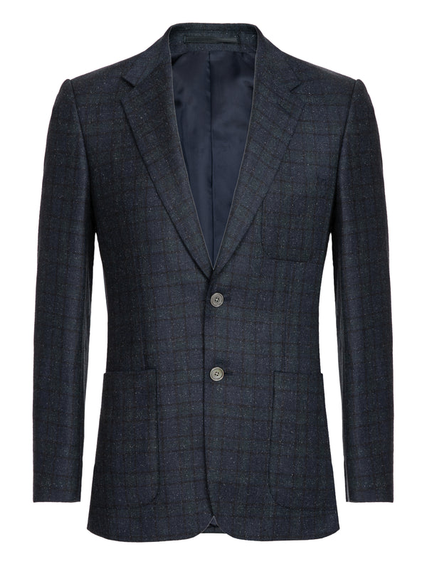 Wool Silk Blend Tartan Plaid Suit