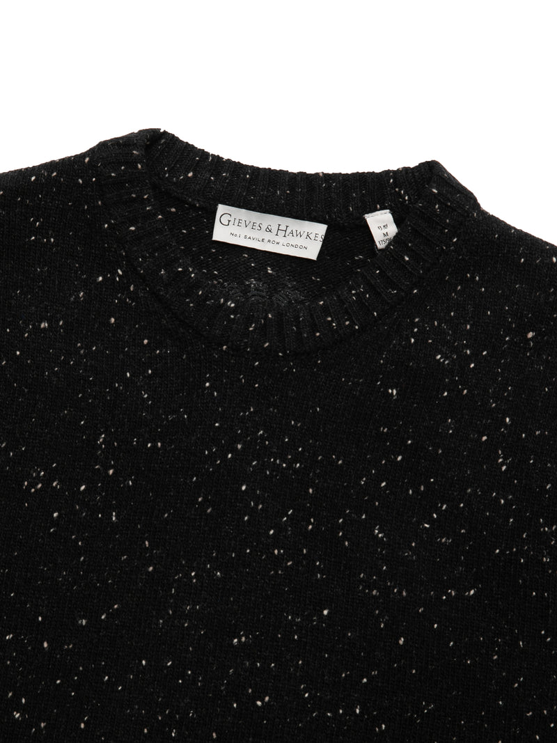 Wool Speckle Patterned Crewneck Sweater