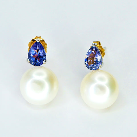 14K White Gold Pearl Earrings with Iolite