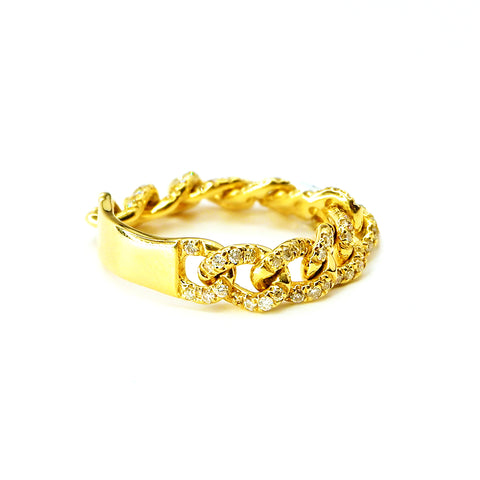 18K Yellow Gold Chain Ring with Diamonds