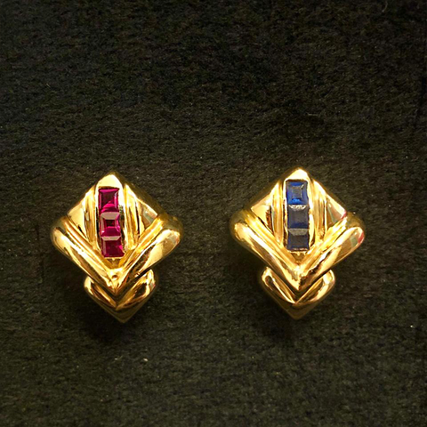 18K Gold with Semi-precious Ruby and Sapphire Stones
