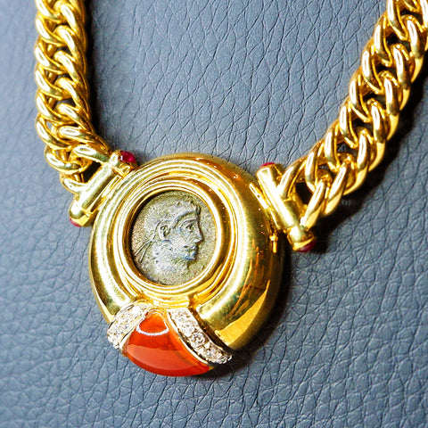 Authentic Roman Coin with Diamonds & Carnelian in 18K Yellow Gold