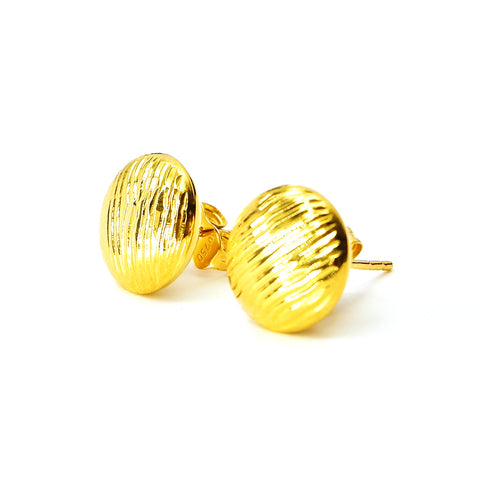 Button Earrings in 18K Gold