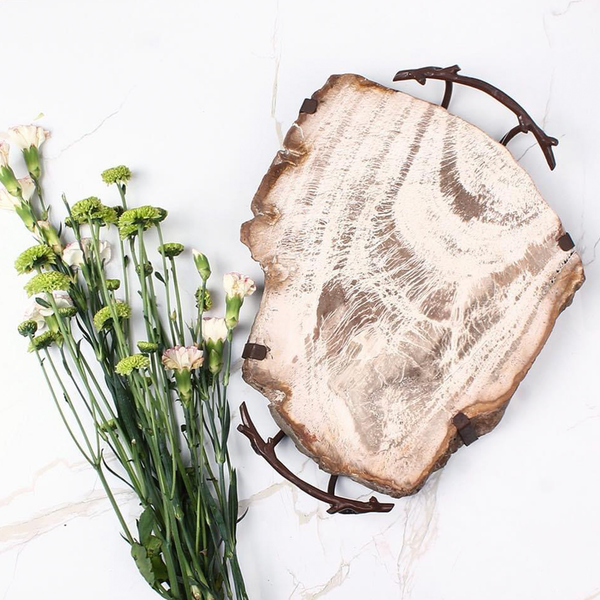 Petrified Wood Cheese Server